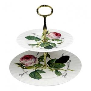 Redoute Roses Opsats Etagere Kagefad med Roser 2 etager