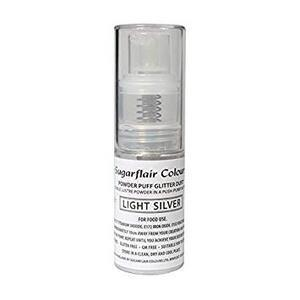 Light Silver powder puff glitter dust 10 g.