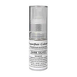 Dark Silver powder puff glitter dust 10 g.