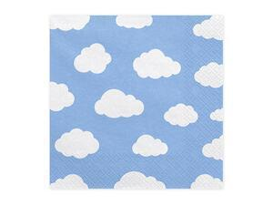 20 pc. Paper napkins Little Plane, sky-blue with white print, 16,5 x 16,5 cm.