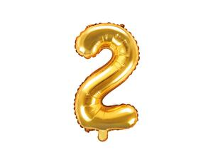 "Foil Balloon Number ""2"", 35cm, gold"