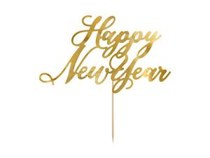 Cake topper Happy New Year, gold, 24cm