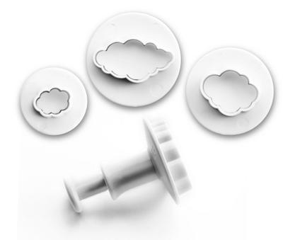 Set of 3 clouds cutters with ejector