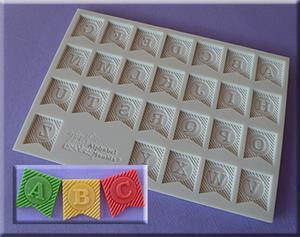 Ribbon Bunting Alphabet silicone mould