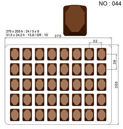 chocolate Praline mould, model 044, 40 pcs. - Xmas sale until 24. december 2019 kl. 10.00