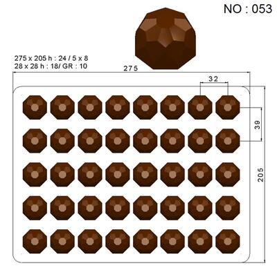 chocolate Praline mould, little diamond, 40 pcs.