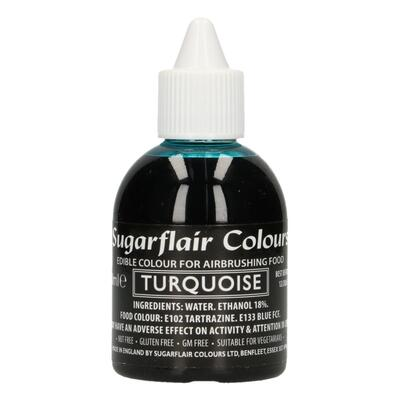 Turquoise airbrush color fra Sugarflair, 60 ml.