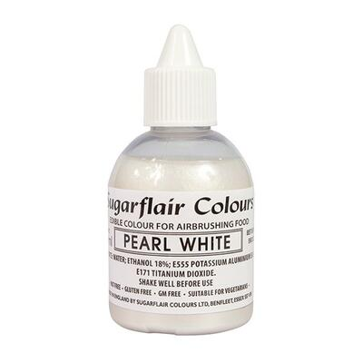 Glitter Pearl White airbrush color fra Sugarflair, 60 ml.