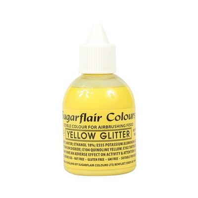 Glitter Yellow airbrush color fra Sugarflair, 60 ml.