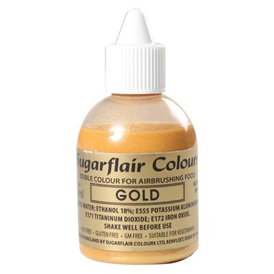 Glittter Gold airbrush color fra Sugarflair, 60 ml.