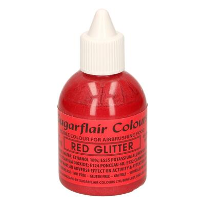 Glitter Red airbrush color fra Sugarflair, 60 ml.