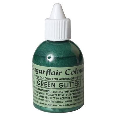 Glitter Green airbrush color fra Sugarflair, 60 ml.
