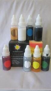 sugarflair airbrush color set, 8 x 14 ml.