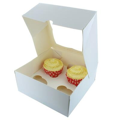White Cupcake Boxes With Window, holds 4 cupcakes.