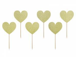 6 pc. Cupcake toppers Sweet Love - Hearts, gold glittery, height approx. 11 cm.