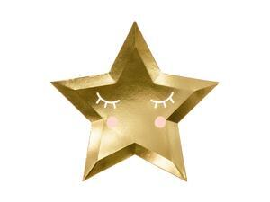 6 pc. Paper plates Little Star - Star in mirror gold colour, diameter approx. 27 cm.