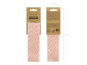 10 pc. Paper straws in light pink colour with metallic gold slanted stripes, length approx. 19.5 cm.
