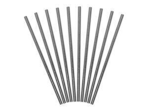 10 pc. Paper straws, plain, metallic, silver length about 19.5 centimeters.