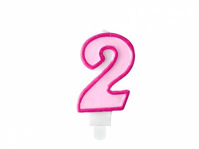 number candle 2, pink