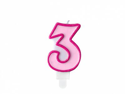 number candle 3, pink
