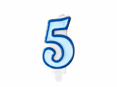 number candle 5, blue