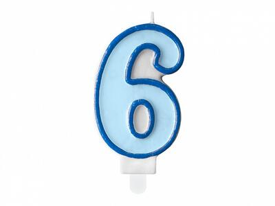number candle 6, blue