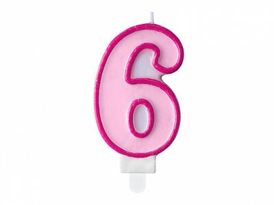 number candle 6, Pink