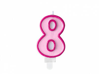 number candle 8, Pink