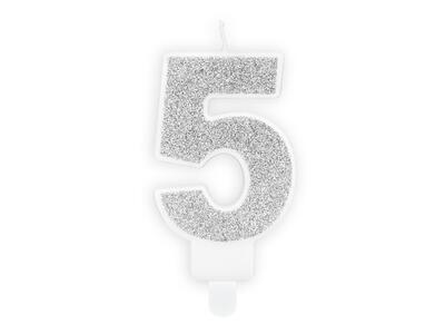 number candle 5, Silver