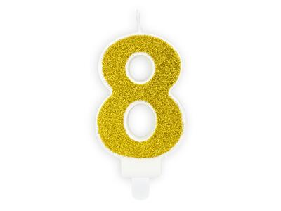 number candle 8, Gold