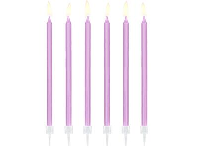 12 pc. Birthday candles, light lilac, 14 cm.