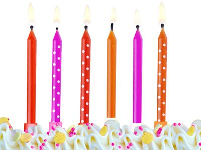 6 pc. Birthday candles Colourful, mix, 6.5cm