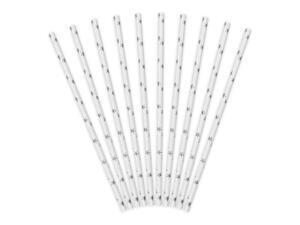 10 pc. Paper straws, white with metallic, silver stars, length about 19.5 centimeters