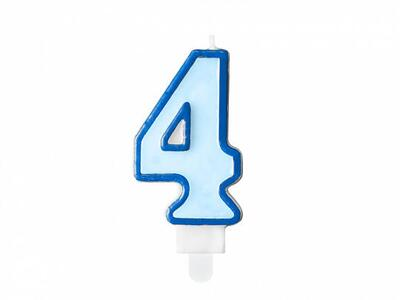 number candle 4, blue