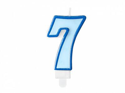number candle 7, blue