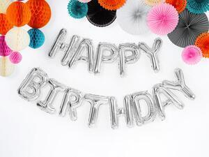 1 pc. Pastel foil balloon Happy Birthday, Silver size approx. 340 x 35 cm