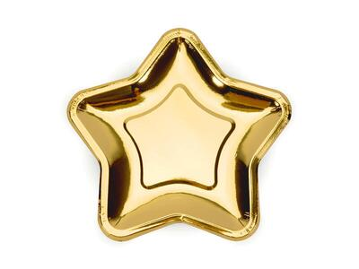 6 pc. Paper Plates Star, gold, 18cm