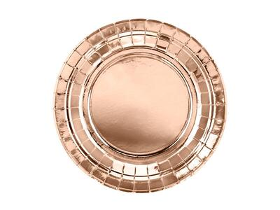 6 pc. Round paper plates, rose gold, 18cm