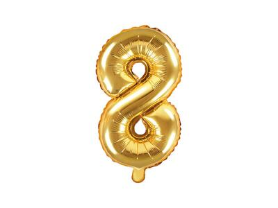 "1 pc. Foil Balloon Number ""8"", 35cm, gold"