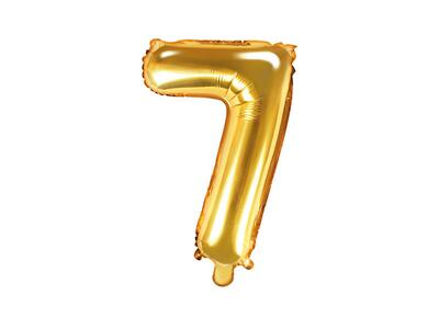 "Foil Balloon Number ""7"", 35cm, gold"