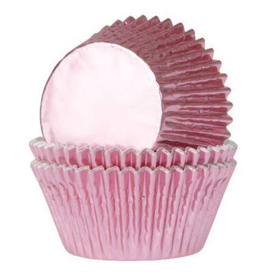House of Marie Baking Cups Foil Baby Pink pk/24