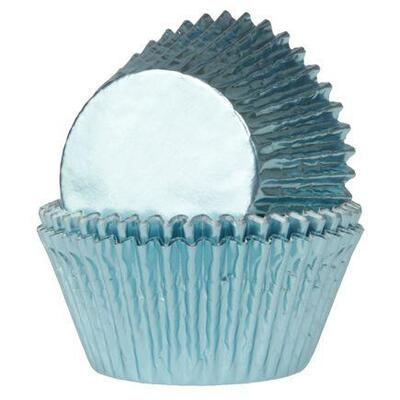 House of Marie Mini Baking Cups Foil Baby Blue pk/36