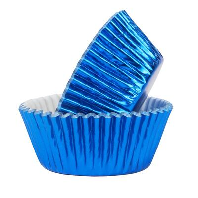 Foil Baking Cups Metallic Blue pk/30