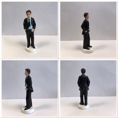 Communion Boy Cake Topper, dark hair
