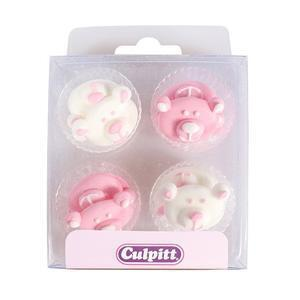 Pink Baby Bear Sugar Pipings, 12 pieces