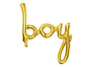 1 pc. Foil balloon Boy in gold colour, size approx. 63.5 x 74 cm