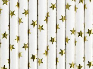 10 pc. Paper straws, white with metallic, gold stars, length about 19.5 centimeters.