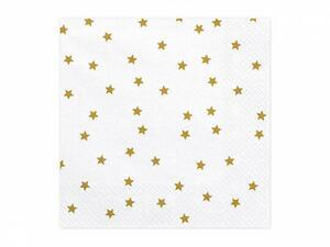 20 pc. Paper napkins Stars, white with a gold print, 16,5 x 16,5 cm.