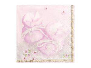 20 pc. napkins Bootees, shades of pink, 16,5 x 16,5 cm.
